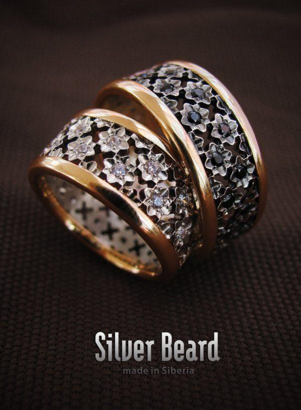 Обручальные кольца с камнями Swarovski