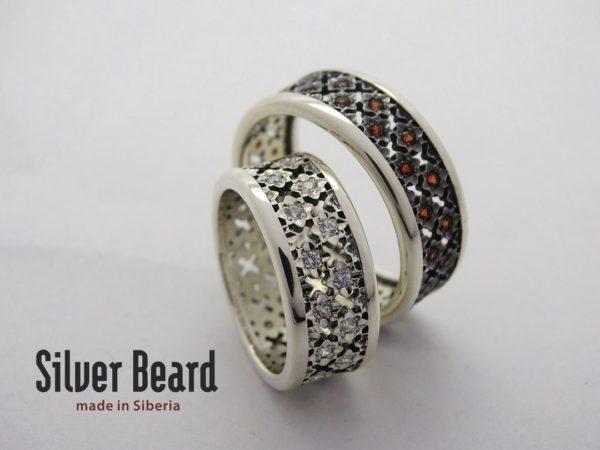 Серебряные обручальные кольца LV