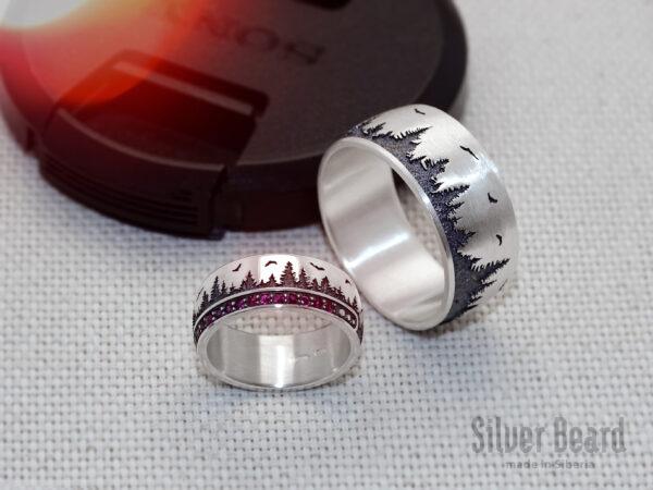 Сибирские кольца с рубинами