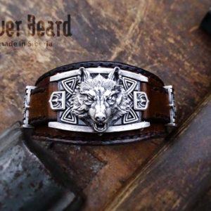 Серебряный мужской браслет «Волк»