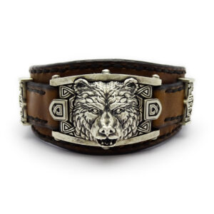 """Кожаный мужской браслет """"Медведь"""""""