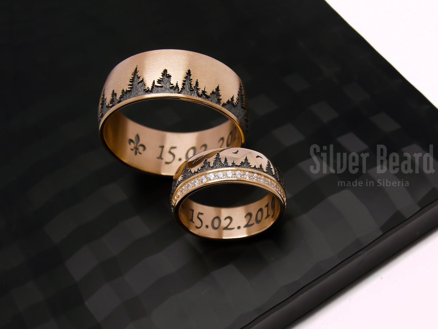 обручальные кольца с изображением леса