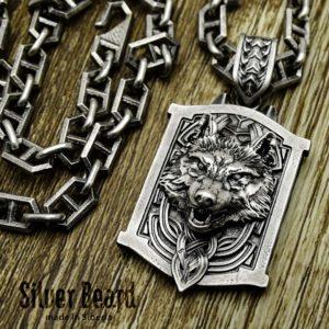 Мужской серебряный кулон «Волк»