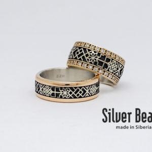 Славянские обручальные кольца с бриллиантами
