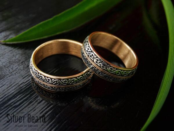 Кольцо из золота с серебром